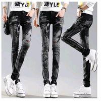Wholesale Rhinestone Capris - Black Long jeans woman Casual Pencil pants Girl Washed rhinestones Hot drilling printing Skinny Long women Jeans Capris Female