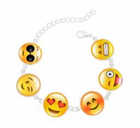 Wholesale Funny Bracelets - New Creative Funny Emoji Glass Cabochon Charm Bracelet Adjustable bronze Plated Jewelry Chain Link Bracelets for Women Gifts AA109