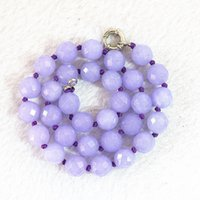 NUEVO Faceted 10mm violeta jade Beads Gemstone Necklace 18