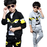 Wholesale outerwear down long coat - cute kid boy coat and pants set little monster eyes cotton set for 4-12yrs children teenager outerwear clothes set hot sale