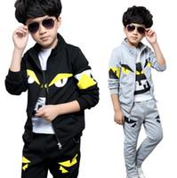 erkek çocuk giyim toptan satış-Sevimli çocuk erkek ceket ve pantolon seti küçük canavar gözler pamuk 4-12yrs çocuklar için set genç giyim giysiler set sıcak satış