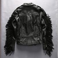Wholesale Men Long Sleeve Epaulets - Man Slim Tassel leather jacket lapel oblique zipper Men Harley's motorcycle coats First layer of genuine leather