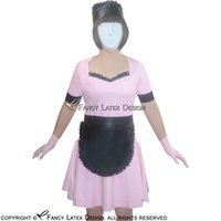 Wholesale Plus Size Aprons - Sexy Latex Uniform With Headgear Gloves And Apron Rubber Dress Cosplay Plus Size 2017 Hot Sales