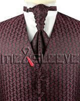 ascot de smoking venda por atacado-Mens Suit Tuxedo Vestido Borgonha Fashion Vest (colete + gravata ascot + abotoaduras + lenço)