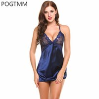 Wholesale Sexy Satin Chemises - Wholesale- POGTMM Summer Sexy Sleepwear Women Backless Satin Chemise Slip Nightwear Lace Nightgown Female Home Gown Mini Baby Doll Dress L5