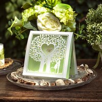 Wholesale Wedding Wishing Tree Wholesale - Wholesale-(10 pieces lot) New Hollow Out Wishing Tree Wedding Invitation Card Light Green Heart Invitations For Wedding Day CW039
