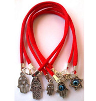 Wholesale Evil Eye Hand Charm - 50Pcs Vintage Silver Protection Hamsa Hand Evil Eye Nylon Red String Kabbalah Lucky Bracelet Bangle Jewelry Gift Punk Accessories Gift