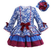 """Wholesale Multilayer Dress - """"Pettigirl 2018 New Autumn Girl Blue Dress Floral Printing Bowknot High Waist Multilayer Casual Boutique Clothing For Kids G-DMGD908-1007"""