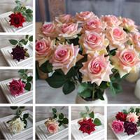 свадебные украшения для продажи оптовых-Горячие продажи моделирования цветок розы украшения дома цветы 6 цветы обеденный стол украшение шелк цветок IA869
