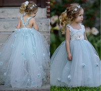 Wholesale Classy Yellow Dresses - Classy Sky Blue Layered Tulle Pleated Frock Flower Girls Dresses Ball Gowns Lovely 3D Flowers Floor Length A Line Princess Gowns