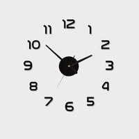 grands autocollants muraux auto-adhésifs achat en gros de-Vente en gros- 40 ~ 70cm Acrylique Meilleure Décoration DIY Horloge Murale Unique Grand nombre Autocollants Autocollant Autocollant Décor À La Maison Horloges Murales Modernes