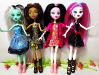 Wholesale 4pcs New style monster fun high Dolls Monster Draculaura hight Moveable Joint children best gift fashion dolls