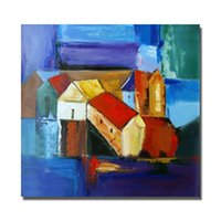 Wholesale Oil Canvas House - Painting for Living Room Hand Painted Canvas Oil Painting Abstract House Wall Art Home Decor No Framed