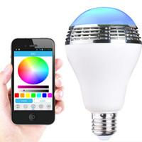 Wholesale blub lamp resale online - Smart LED Blub Light Wireless Bluetooth Speaker V V E27 W Lamp Bulbs Audio for iPhone S C iPad