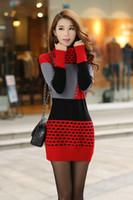 Wholesale Collar Dots Sweater - Women Fall Winter Turtleneck Long Sleeve Sweater Dress Polka Dot Plus Size Women Dress free shipping