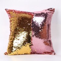 Wholesale Textiles Knitting Yarn - 19 Pattern Creative Sequin Pillowcase hot-selling Magical Pillow Cover Double Color Home sofa Textile Shiny scale Pillow Cover 40cmx40cm