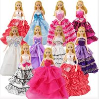 Wholesale Diy Doll Shoes - New arrival Wedding Dress Princess Gown+2Pairs Shoes+1pc Handbag Neacklace earrings accessory Clothes For Barbie Doll good gift for baby