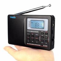 Wholesale Black Clock Radio - Wholesale-DSP Radio FM Stereo  MW   SW Radio Station Multiband Radio Receiver Portable Clock & Alarm Black Best F9201B