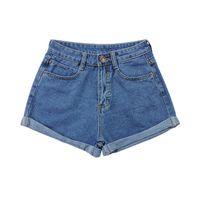 Wholesale Women S Retro Washed - Wholesale- Stylish Retro Women Girls Slim High Waist Curling Denim Jeans Shorts Pants S-4XL 2 Colors