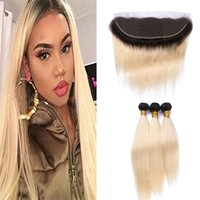Wholesale Ombre Bundle Weave - Two Tone 1B 613 Ombre Straight Virgin Hair Bundles With Lace Frontal Closure Dark Roots Blonde Brazilian Human Hair Weaves With Lace Frontal