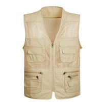 сетка фотографии жилет оптовых-Wholesale- New  Summer Mesh Vest for Shooting Men's Sleeveless Jacket Vests 4XL Plus Size Travel Vests Photography Cameraman Vests