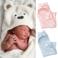 Wholesale Thick Winter Quilts - Newborn Baby Swaddle Blankets hooded bear ear cotton thick Swaddle Wrap Cloth solid color cashmere bear Plush blanket for toddlers bedding