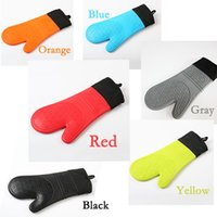 Wholesale Wholesale Oven Mitts Pot Holders - Mirowave Oven Silica Gel Gloves Silicone Oven Mitts BBQ Heat-Resistant Pot Holder Long Glove With Cotton Lining