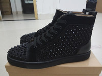 Wholesale Hard Wire - 2017free shipping spikes men's flat wire mesh high top red bottom casual shoes,womens fashion sneakers ,outdoor flat shoes size 36-46