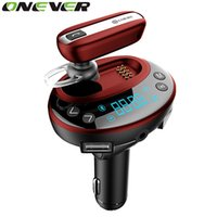 Wholesale Car Charger Aux Adapter - Onever Bluetooth 4.0 Car Kit Handsfree AUX Car Mp3 Player Car-Charger Car Bluetooth Earphone Headset Adapter Fm Transmitter