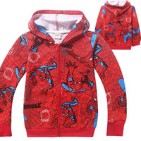Wholesale 4t Long Cardigan - Spiderman Big Boys Childrens Hoodies Clothing Cotton Long Sleeve Sweatshirts Zipper Hooded Cardigan Outwear Kids Boutique Clothes Wholesale