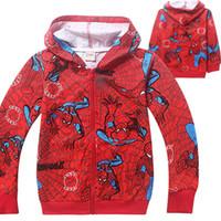 Wholesale Wholesale Childrens Sweatshirts - Spiderman Big Boys Childrens Hoodies Clothing Cotton Long Sleeve Sweatshirts Zipper Hooded Cardigan Outwear Kids Boutique Clothes Wholesale