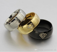 Wholesale New Superman Man Steel - NEW Fashion Gold Silver Black Titanium Men Boy Superman Symbol Stainless Steel Ring