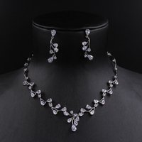 Wholesale Bridal Jewelry Sets Korean - A set of High quality Korean bridal jewelry 3A zircon Pendant necklace and earring sets jewelry H15169