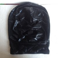 capuche en spandex bouche ouverte achat en gros de-Vente chaude Lycra / Spandex Métal Noir Costumes Zentai Party Halloween Masque / Capuche Ouvrir La Bouche Et Les Yeux