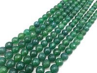 grüne achat runde perle großhandel-Neuer Art-heißer Verkauf 4-12mm grüner runder natürlicher Stein bördelt Achat facettierte lose Steinkorne für die Herstellung von Schmucksachen Diy-Armbändern
