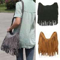 Wholesale Genuine Leather Fringe Handbags - Women Lady Fringe Tassel Suede Shoulder Messenger Cross Body Satchel Bag Handbag 02SN 4OM2