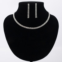 Wholesale Color Rhinestone Bridal Jewelry - Mecresh Gorgeous Crystal Bridal Jewelry Sets Silver Color Rhinestone Flower Earrings Necklace Sets Wedding Jewelry