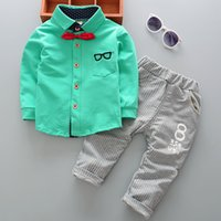 Wholesale Kids Shirts Glasses - Baby kids outfits children bows glasses long sleeve shirt+stripe letter printed pants 2 pc clothing sets boys autumn clothing T3974