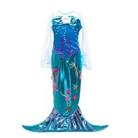 Wholesale Wholesale Clothing Evening Gowns - Girls dresses Princess Dress Mermaid flare sleeve floral brillian tail dress for Birthday Evening Party Dresses girl children kids clothing