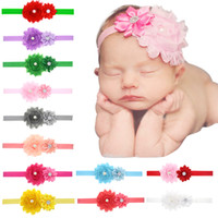 Wholesale bands for hair for sale - Baby Headbands Sunflowers Infants Kids Elastic Head Bands Shabby Satin Fabric Hairbands Girls Rhinestone hair accessories for Baby KHA149