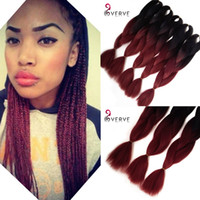 "Wholesale Kanekalon Hair African - VERVES wholesale Amaze burgundy Ombre African Box Hair Braiding Expression Kanekalon Jumbo Braid Hair Extension 24"" 5pcs hair"
