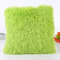 Polyester / Cotton black faux chairs - Solid Soft Plush Faux Fur Decorative Cushion Cover Throw Pillows For Sofa Car Chair Hotel Home Decoration Pillow Case
