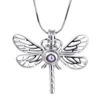 Wholesale Diy Jewellery Christmas Charms - 18kgp Big Dragonfly Locket Cages, Pearl Gem Bead Pendant Mountings, DIY Jewellery Charms