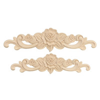 Wholesale 2 Size Rose Floral Wood Carved Decal Corner Flower Applique Decorate Frame Wall Doors Furniture Decorative Wooden Figurines Crafts