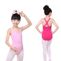 Wholesale Fast Suits - Leotard for girls Ballet gymnastic Bodysuit Dance Suit Dancewear Double cross strap Kids Girls Sleeveless Cotton free fast shipping