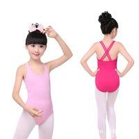 trajes de ballet al por mayor-Leotardo para niñas Ballet gimnasia Body traje de baile Dancewear correa cruzada doble niños niñas sin mangas de algodón envío rápido gratis