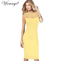 Wholesale sexy office wear womens - Vfemage Womens Elegant Sexy See Through Mesh Patchwork Slim Casual Wear to Work Office Business Party Fitted Bodycon Dress 6209
