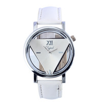 Wholesale Transparent Hollow Wrist Watch - New 2016 sell hot Unisex Charm Glass Hollow Triangle Dial Faux Leather Analog Quartz Wrist Watch women Delicate Transparent Strap Wristwatch