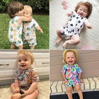 Wholesale Short Overalls For Baby Girls - Summer Baby Boy Girl Shorts Romper Clothes Cotton Pineapple Print Jumpsuit For Newborn Toddler Infant Overall Costume One Piece Clothing