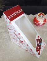 étuis en papier dessert achat en gros de-Boîte à lunch jetable Sandwich Cake Box Emballage Outils de cuisson Mousse Box Case Dessert À emporter Conteneurs Papier 12x12x6.5cm